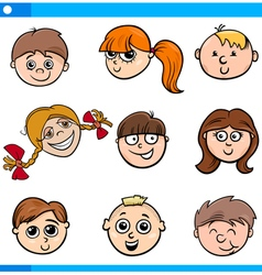 cartoon kids characters faces set vector image