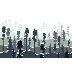 Cartoon of winter coniferous forest in in dark vector