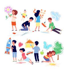 children drawing on floor cartoon girl draw vector image