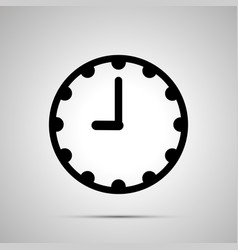 Clock face showing 9-00 simple black icon on vector
