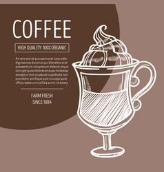coffee in glass with foam irish recipe chalk vector image