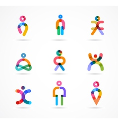 Collection of colorful abstract people vector image