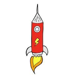 Comic cartoon space rocket vector