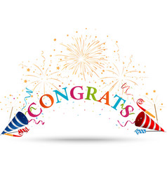 Congratulations celebration with fireworks vector