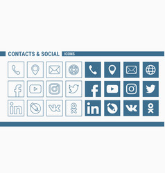 Contacts social icons - set web and mobile 01 vector
