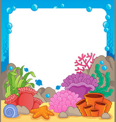 Coral reef theme frame 1 vector
