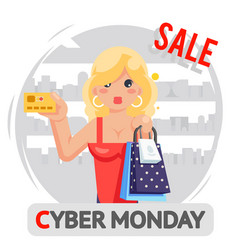 cute girl cyber monday sale shop background design vector image