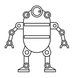 Cute robot icon outline style vector