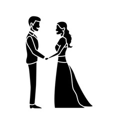 cute wedding couple holding hand lovely vector image
