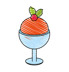 Delicious ice cream in cup with topping icon imag vector