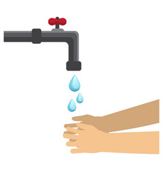 Drops water fall from tap and wash hands vector