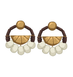 Earrings with stones and beads threads and metal vector