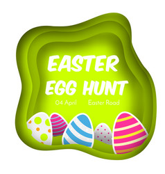 Easter egg hunt colorful banner in paper cut vector