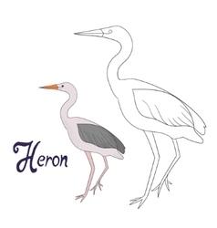Educational game coloring book heron bird vector