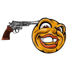 emoticon pointing a gun on his head vector image