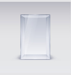 Empty glass showcase on white background vector
