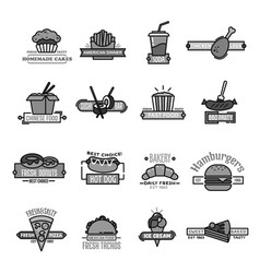 Fast food icons of sushi seafood and bakery vector