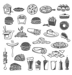 fast food meal icons with snacks vector image