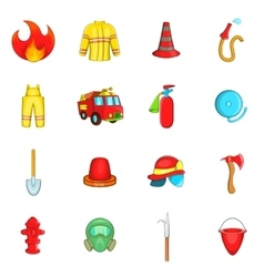 Fireman icons set cartoon style vector image