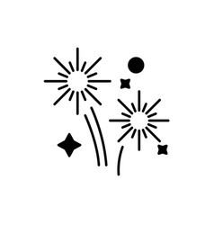 fireworks holidays black icon sign on vector image