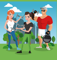 fitness people at park vector image