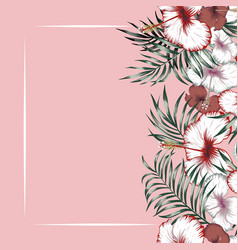 Flowers right frame tropical pink background vector