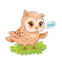 funny owl print vector image
