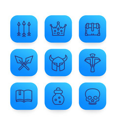 Game line icons set 2 vector
