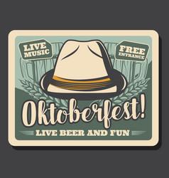 german beer festival oktoberfest and bavarian hat vector image