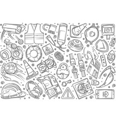 hand drawn security-related equipment vector image