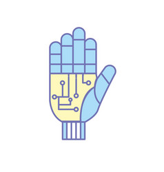 Hand with circuits and cyberspace interface vector