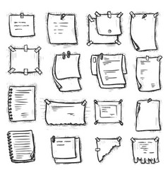 Hanging attached pinned paper notebook page set vector