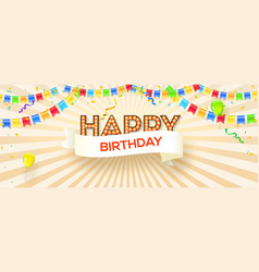 happy birthday festive banner on sunrays vector image