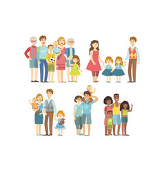 Happy families posing together vector