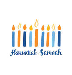 Happy hanukkah hand written brush lettering vector