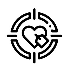Heart target icon outline vector
