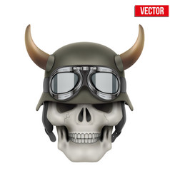 Human skulls with German Army helmet and horns vector