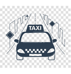 Icon travel by taxi silhouette vector