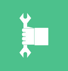 Icon wrench in hand vector