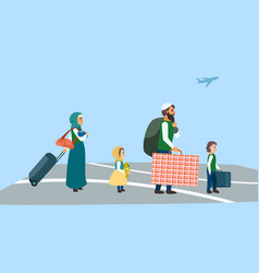 immigrant family at airport concept banner flat vector image