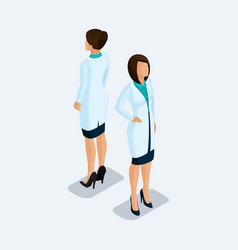 isometric medical staff doctor surgeon nurse vector image