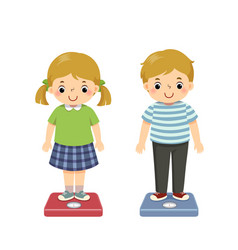 Kids checking their weight on scales vector