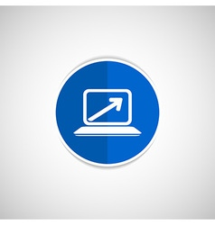 Laptop arrow pointing up from the blank screen vector image
