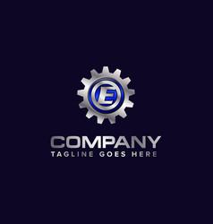 Letter e gear template logo this design vector