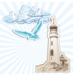 Lighthouse and sky background vector image