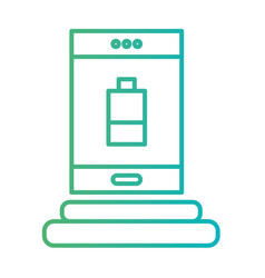 line smartphone technology charging the battery vector image