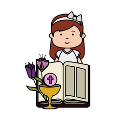 Little girl with bible and flowers first communion vector