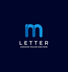 logo abstract letter m line art style vector image