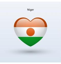 Love Niger symbol Heart flag icon vector