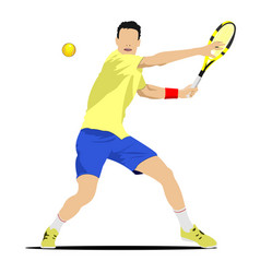 Man tennis player poster colored for designers vector